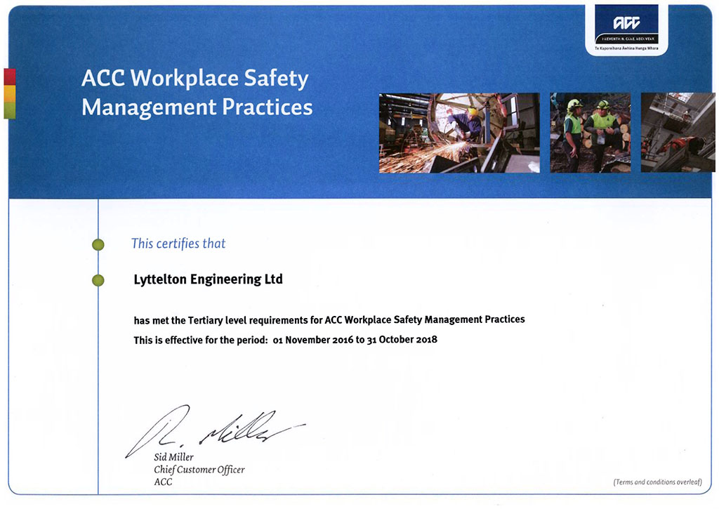 ACC Workplace Safety Management Practices Certificate - 2016-2018